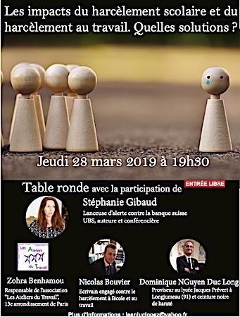 TABLE RONDE: LE HARCÈLEMENT
